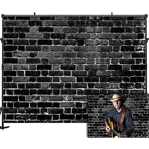 Funnytree Black Brick Wall Photography Backdrop Retro Block Background Baby Kids Boys Portrait Banner Themed Party Decorations Photo Booth Props Studio Mini Session 7x5ft